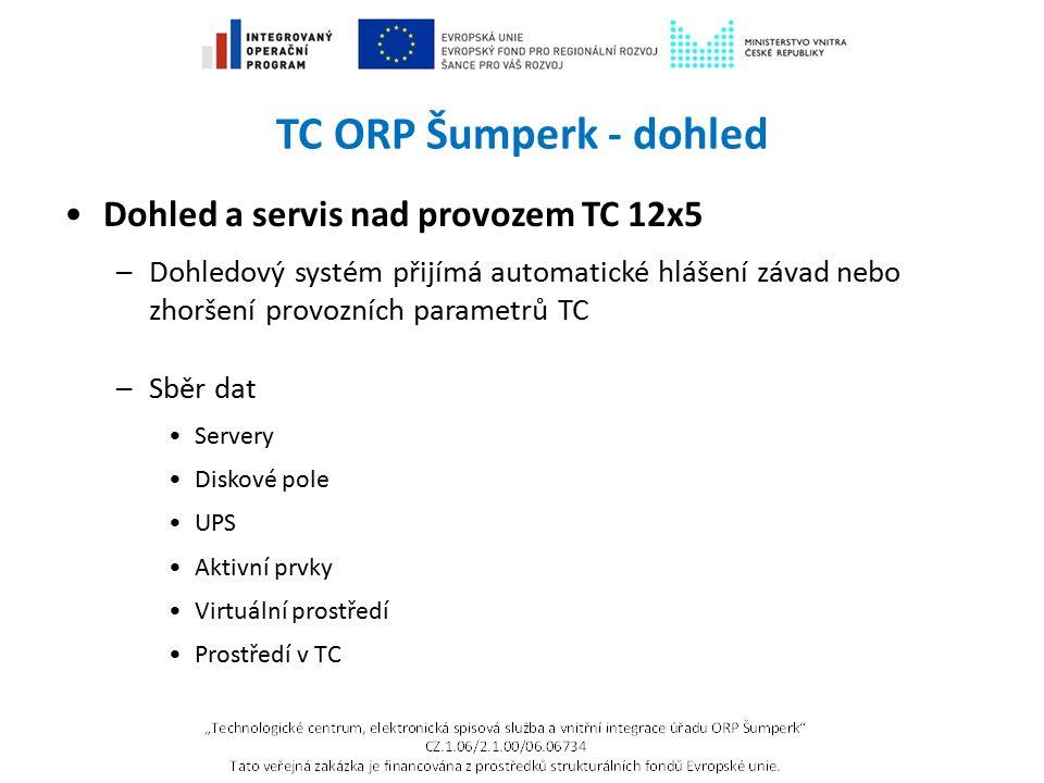 TC ORP Šumperk - dohled Dohled a servis nad provozem TC 12x5 –Dohledový systém přijímá automatické hlášení závad nebo zhoršení provozních parametrů TC