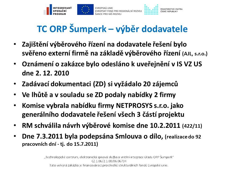 TC ORP Šumperk – výběr dodavatele Zajištění výběrového řízení na dodavatele řešení bylo svěřeno externí firmě na základě výběrového řízení (AJL, s.r.o