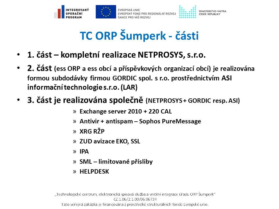 TC ORP Šumperk - části 1. část – kompletní realizace NETPROSYS, s.r.o. 2. část (ess ORP a ess obcí a příspěvkových organizací obcí) je realizována for
