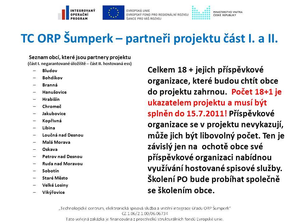 TC ORP Šumperk – partneři projektu část I. a II. Seznam obcí, které jsou partnery projektu (část I. negarantované úložiště – část II. hostovaná ess) –