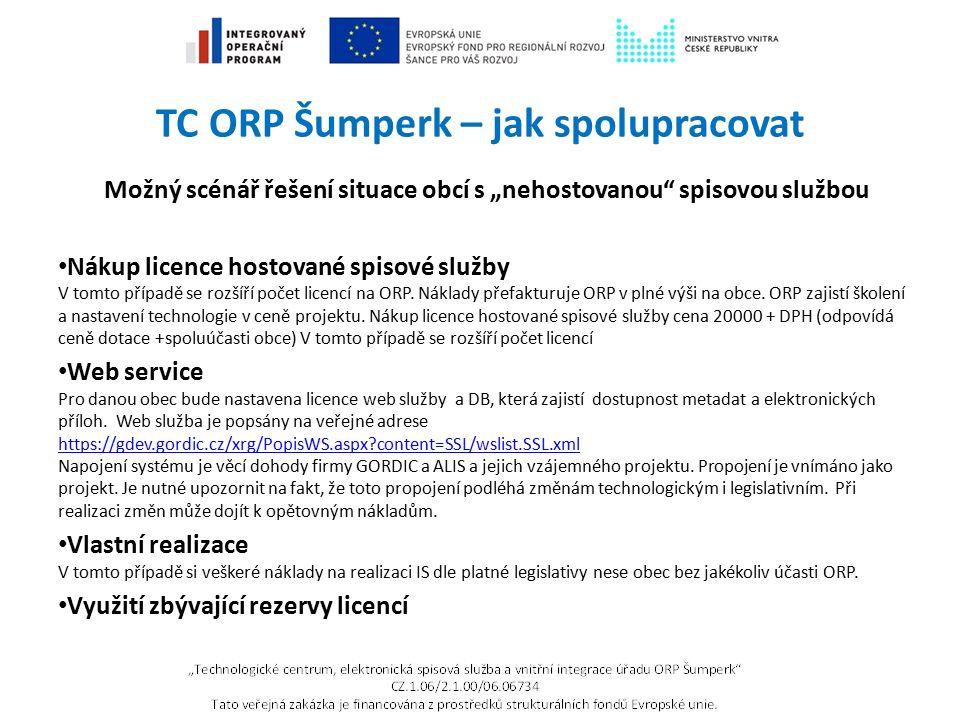 """TC ORP Šumperk – jak spolupracovat Možný scénář řešení situace obcí s """"nehostovanou"""" spisovou službou Nákup licence hostované spisové služby V tomto p"""