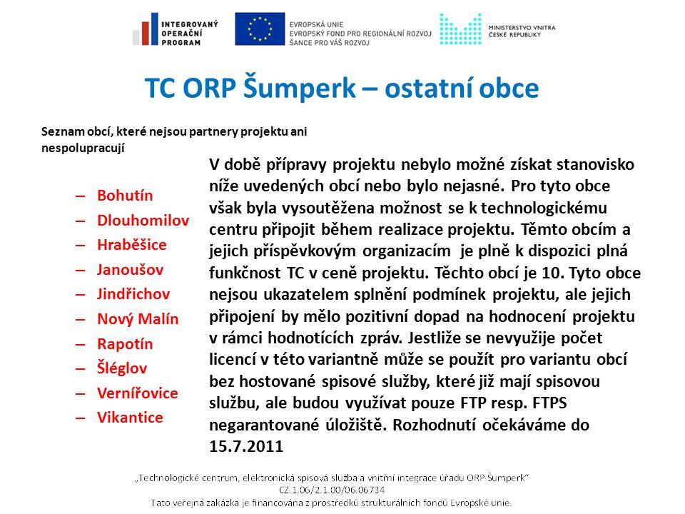 TC ORP Šumperk – PO Šumperk Příspěvkové organizace města, které budou využívat hostovanou spisovou službu: » ZŠ Vrchlického » MŠ Sluníčko Šumperk » MŠ Veselá školka Šumperk