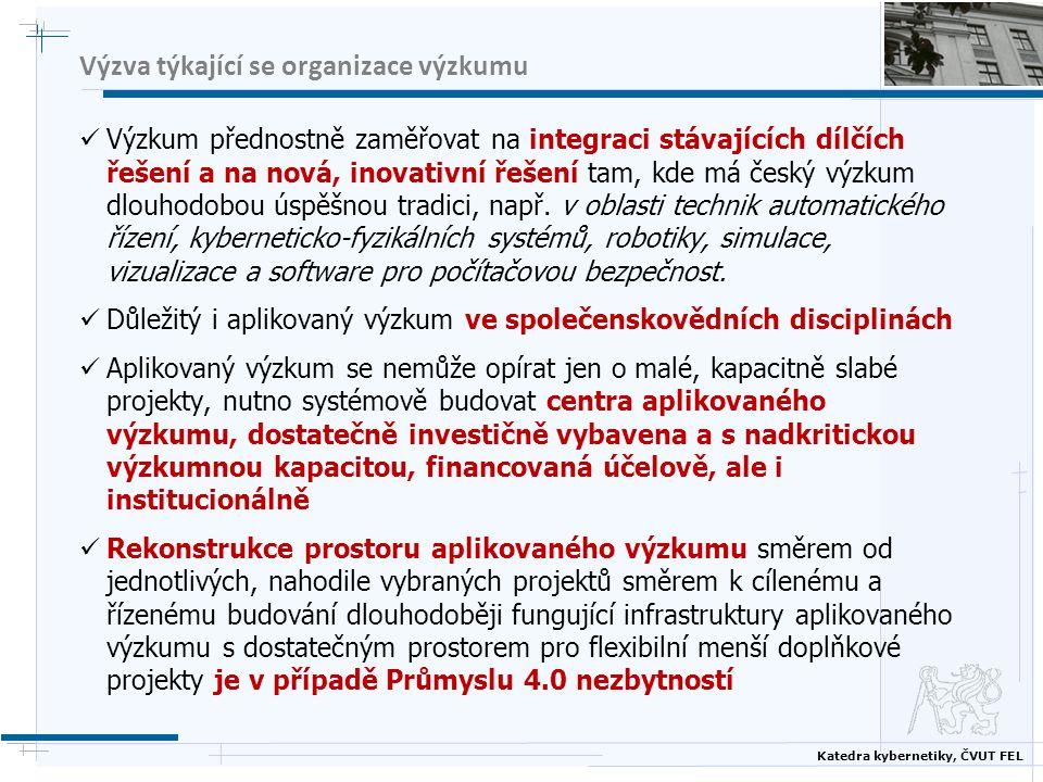 Katedra kybernetiky, ČVUT FEL Výzva týkající se organizace výzkumu Výzkum přednostně zaměřovat na integraci stávajících dílčích řešení a na nová, inovativní řešení tam, kde má český výzkum dlouhodobou úspěšnou tradici, např.