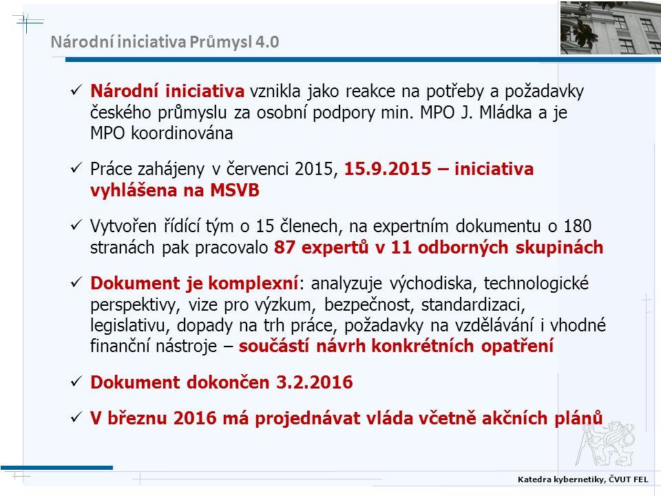 Katedra kybernetiky, ČVUT FEL Národní iniciativa Průmysl 4.0 Národní iniciativa vznikla jako reakce na potřeby a požadavky českého průmyslu za osobní podpory min.