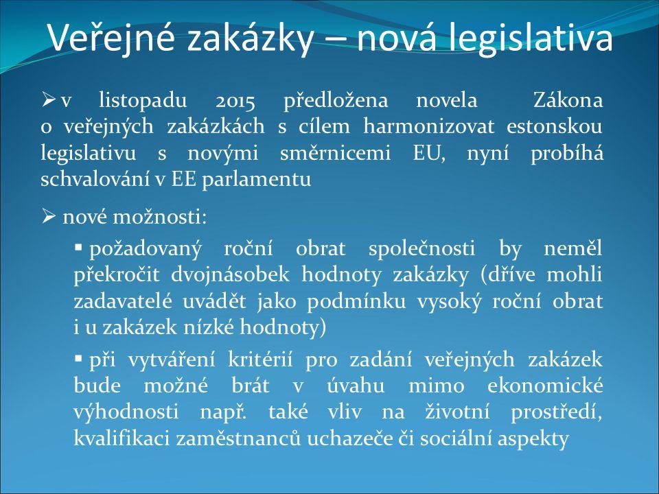 Veřejné zakázky – nová legislativa  v listopadu 2015 předložena novela Zákona o veřejných zakázkách s cílem harmonizovat estonskou legislativu s novými směrnicemi EU, nyní probíhá schvalování v EE parlamentu  nové možnosti:  požadovaný roční obrat společnosti by neměl překročit dvojnásobek hodnoty zakázky (dříve mohli zadavatelé uvádět jako podmínku vysoký roční obrat i u zakázek nízké hodnoty)  při vytváření kritérií pro zadání veřejných zakázek bude možné brát v úvahu mimo ekonomické výhodnosti např.