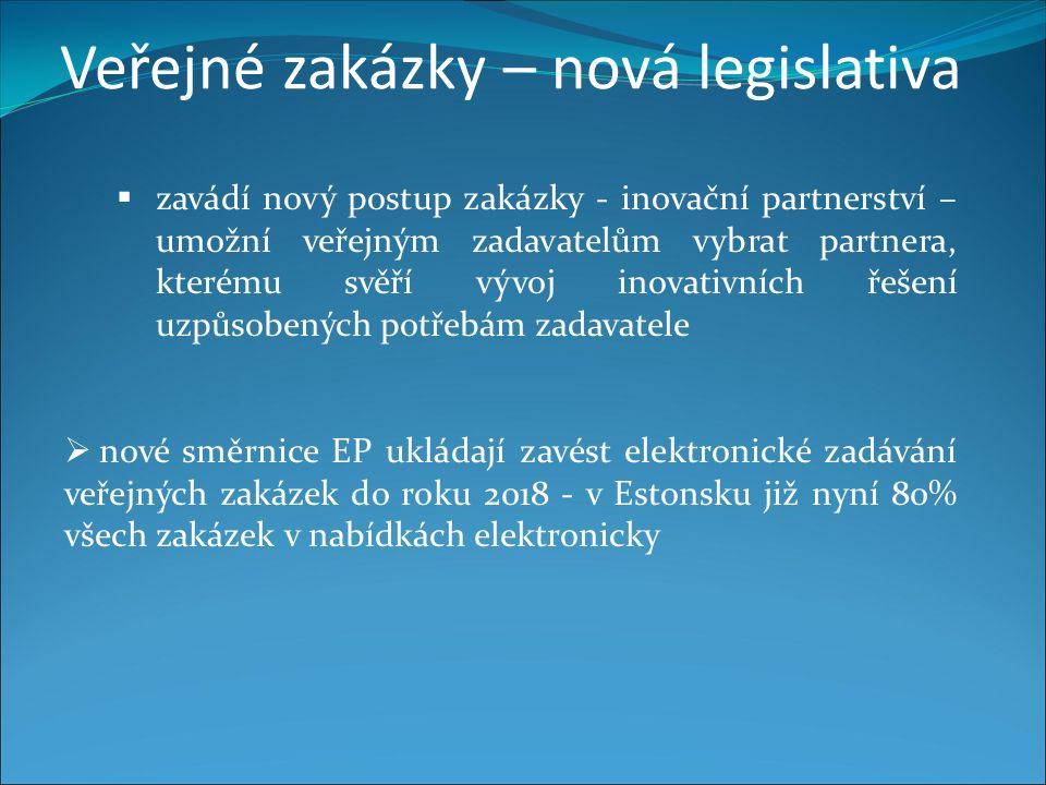 Veřejné zakázky – nová legislativa  zavádí nový postup zakázky - inovační partnerství – umožní veřejným zadavatelům vybrat partnera, kterému svěří vývoj inovativních řešení uzpůsobených potřebám zadavatele  nové směrnice EP ukládají zavést elektronické zadávání veřejných zakázek do roku 2018 - v Estonsku již nyní 80% všech zakázek v nabídkách elektronicky