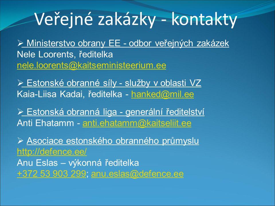 Veřejné zakázky - kontakty  Ministerstvo obrany EE - odbor veřejných zakázek Nele Loorents, ředitelka nele.loorents@kaitseministeerium.ee nele.loorents@kaitseministeerium.ee  Estonské obranné síly - služby v oblasti VZ Kaia-Liisa Kadai, ředitelka - hanked@mil.eehanked@mil.ee  Estonská obranná liga - generální ředitelství Anti Ehatamm - anti.ehatamm@kaitseliit.eeanti.ehatamm@kaitseliit.ee  Asociace estonského obranného průmyslu http://defence.ee/ http://defence.ee/ Anu Eslas – výkonná ředitelka +372 53 903 299+372 53 903 299; anu.eslas@defence.eeanu.eslas@defence.ee