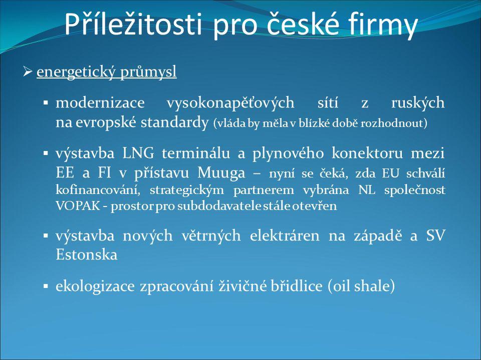 Příležitosti pro české firmy  energetický průmysl  modernizace vysokonapěťových sítí z ruských na evropské standardy (vláda by měla v blízké době rozhodnout)  výstavba LNG terminálu a plynového konektoru mezi EE a FI v přístavu Muuga – nyní se čeká, zda EU schválí kofinancování, strategickým partnerem vybrána NL společnost VOPAK - prostor pro subdodavatele stále otevřen  výstavba nových větrných elektráren na západě a SV Estonska  ekologizace zpracování živičné břidlice (oil shale)