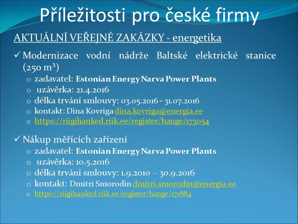 Příležitosti pro české firmy AKTUÁLNÍ VEŘEJNÉ ZAKÁZKY - energetika Modernizace vodní nádrže Baltské elektrické stanice (250 m³) o zadavatel: Estonian Energy Narva Power Plants o uzávěrka: 21.4.2016 o délka trvání smlouvy: 03.05.2016 - 31.07.2016 o kontakt: Dina Kovriga dina.kovriga@energia.eedina.kovriga@energia.ee o https://riigihanked.riik.ee/register/hange/173054 https://riigihanked.riik.ee/register/hange/173054 Nákup měřících zařízení o zadavatel: Estonian Energy Narva Power Plants o uzávěrka: 10.5.2016 o délka trvání smlouvy: 1.9.2010 – 30.9.2016 o kontakt: Dmitri Smorodin dmitri.smorodin@energia.eedmitri.smorodin@energia.ee o https://riigihanked.riik.ee/register/hange/171884 https://riigihanked.riik.ee/register/hange/171884