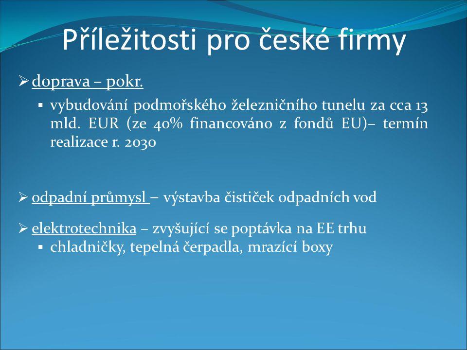 Příležitosti pro české firmy  doprava – pokr.