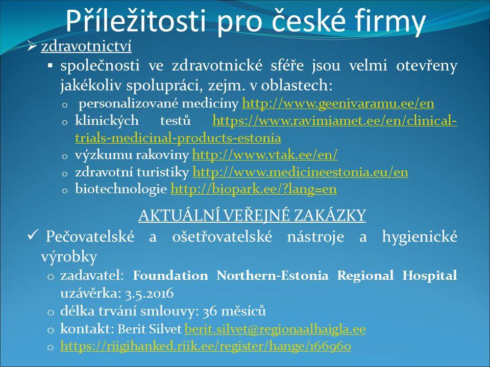 Příležitosti pro české firmy  zdravotnictví  společnosti ve zdravotnické sféře jsou velmi otevřeny jakékoliv spolupráci, zejm.