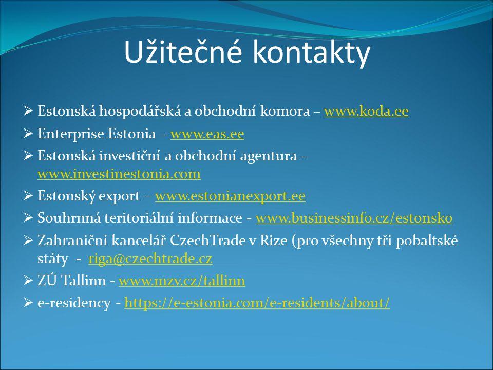 Užitečné kontakty  Estonská hospodářská a obchodní komora – www.koda.eewww.koda.ee  Enterprise Estonia – www.eas.eewww.eas.ee  Estonská investiční a obchodní agentura – www.investinestonia.com www.investinestonia.com  Estonský export – www.estonianexport.eewww.estonianexport.ee  Souhrnná teritoriální informace - www.businessinfo.cz/estonskowww.businessinfo.cz/estonsko  Zahraniční kancelář CzechTrade v Rize (pro všechny tři pobaltské státy - riga@czechtrade.czriga@czechtrade.cz  ZÚ Tallinn - www.mzv.cz/tallinnwww.mzv.cz/tallinn  e-residency - https://e-estonia.com/e-residents/about/https://e-estonia.com/e-residents/about/