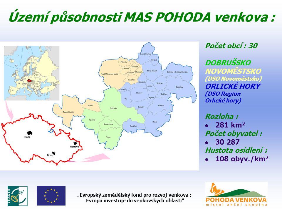 """Území působnosti MAS POHODA venkova : Počet obcí : 30 DOBRUŠSKO NOVOMĚSTSKO (DSO Novoměstsko) ORLICKÉ HORY (DSO Region Orlické hory) Rozloha : 281 km 2 Počet obyvatel : 30 287 Hustota osídlení : 108 obyv./km 2 """"Evropský zemědělský fond pro rozvoj venkova : Evropa investuje do venkovských oblastí"""