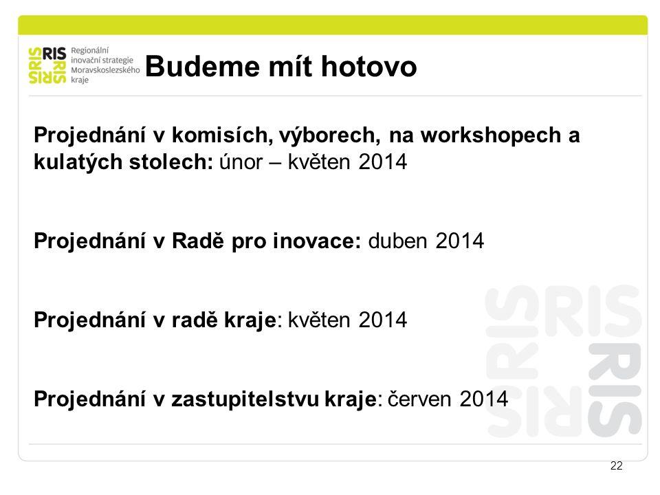 Budeme mít hotovo 22 Projednání v komisích, výborech, na workshopech a kulatých stolech: únor – květen 2014 Projednání v Radě pro inovace: duben 2014