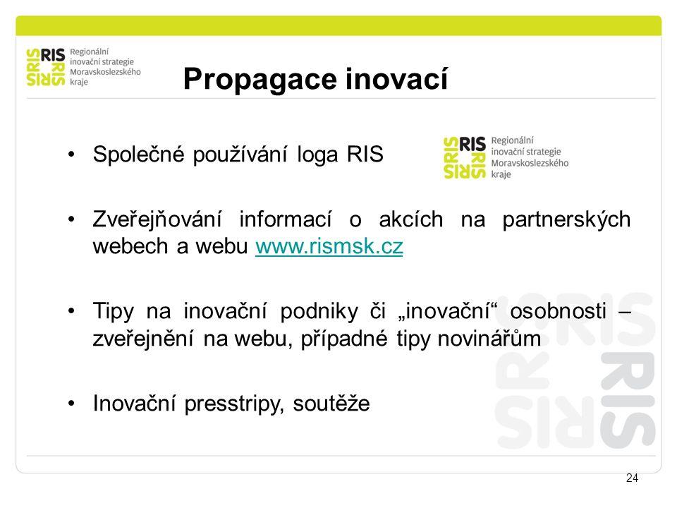 Propagace inovací 24 Společné používání loga RIS Zveřejňování informací o akcích na partnerských webech a webu www.rismsk.czwww.rismsk.cz Tipy na inov
