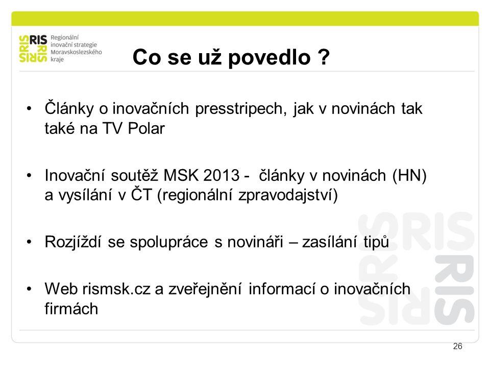 Co se už povedlo ? 26 Články o inovačních presstripech, jak v novinách tak také na TV Polar Inovační soutěž MSK 2013 - články v novinách (HN) a vysílá