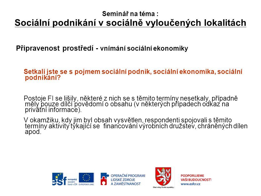 Seminář na téma : Sociální podnikání v sociálně vyloučených lokalitách Připravenost prostředí - vnímání sociální ekonomiky Setkali jste se s pojmem sociální podnik, sociální ekonomika, sociální podnikání.