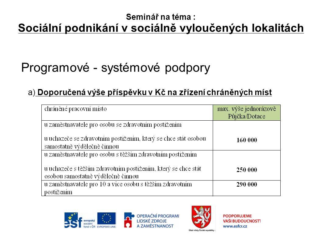 Seminář na téma : Sociální podnikání v sociálně vyloučených lokalitách Programové - systémové podpory a) Doporučená výše příspěvku v Kč na zřízení chráněných míst