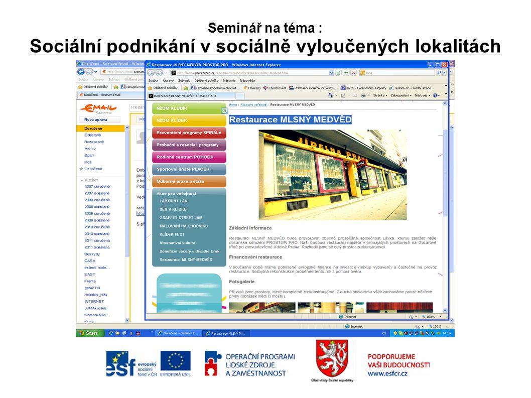 Seminář na téma : Sociální podnikání v sociálně vyloučených lokalitách