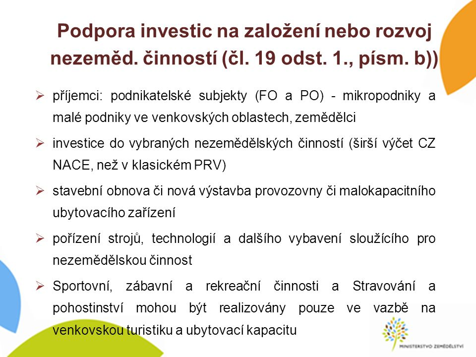 Podpora investic na založení nebo rozvoj nezeměd. činností (čl.