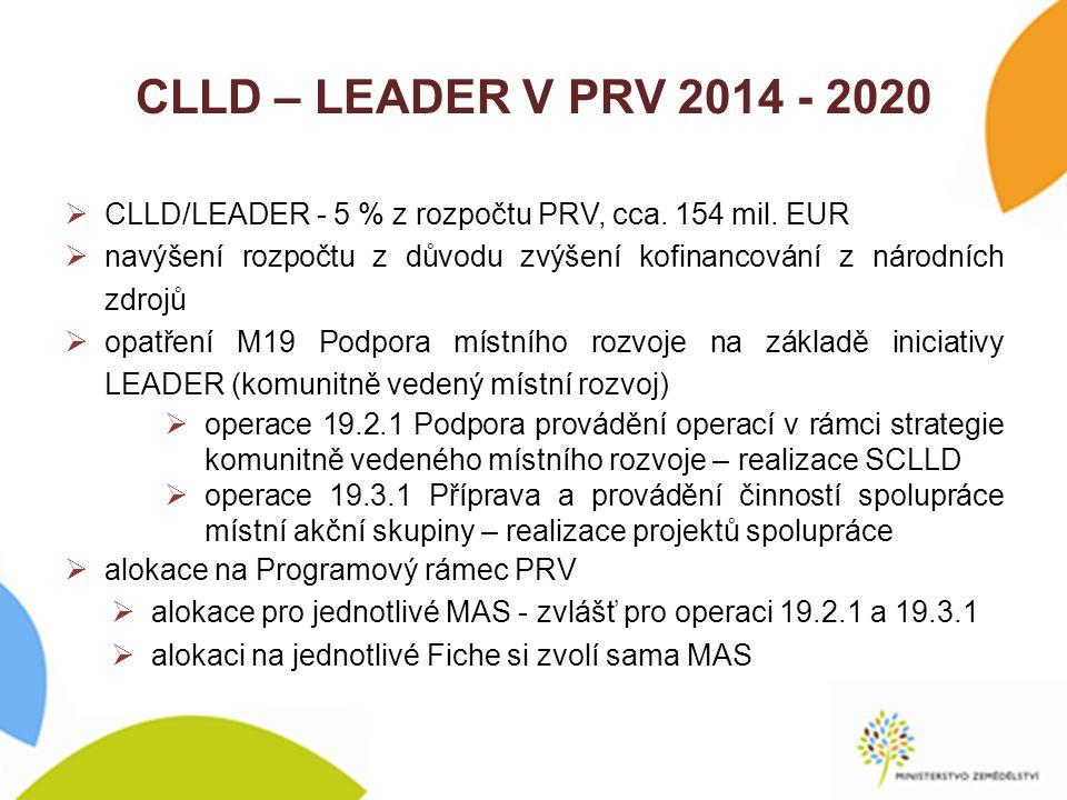 CLLD – LEADER V PRV 2014 - 2020  změna systému administrace  operace 19.3.1 - průběžný příjem dle nařízení  operace 19.2.1 - příjem částečně kolový, vždy dojde k uzavření příjmu, aby byla možnost na úpravu postupů a Pravidel (pokud nebudou vyhovovat)  změna systému zadávání veřejných zakázek (zadávací řízení již před podpisem Dohody)  zahrnutí podmínek pro splnění 3 E, resp.