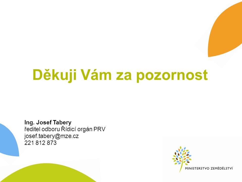 Ing. Josef Tabery ředitel odboru Řídicí orgán PRV josef.tabery@mze.cz 221 812 873 Děkuji Vám za pozornost