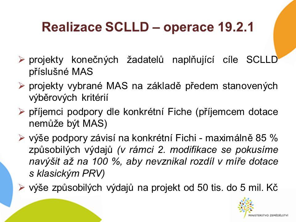 Realizace SCLLD – operace 19.2.1  projekty konečných žadatelů naplňující cíle SCLLD příslušné MAS  projekty vybrané MAS na základě předem stanovených výběrových kritérií  příjemci podpory dle konkrétní Fiche (příjemcem dotace nemůže být MAS)  výše podpory závisí na konkrétní Fichi - maximálně 85 % způsobilých výdajů (v rámci 2.