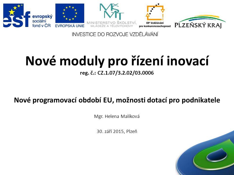 Nové moduly pro řízení inovací reg.