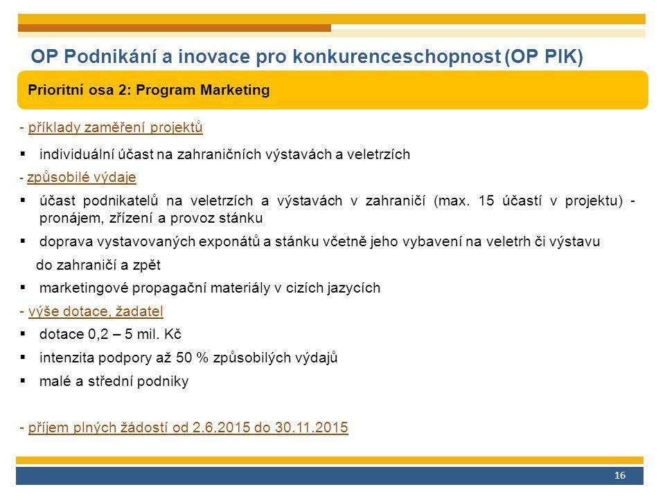 16 OP Podnikání a inovace pro konkurenceschopnost (OP PIK) Prioritní osa 2: Program Marketing - příklady zaměření projektů  individuální účast na zahraničních výstavách a veletrzích - způsobilé výdaje  účast podnikatelů na veletrzích a výstavách v zahraničí (max.