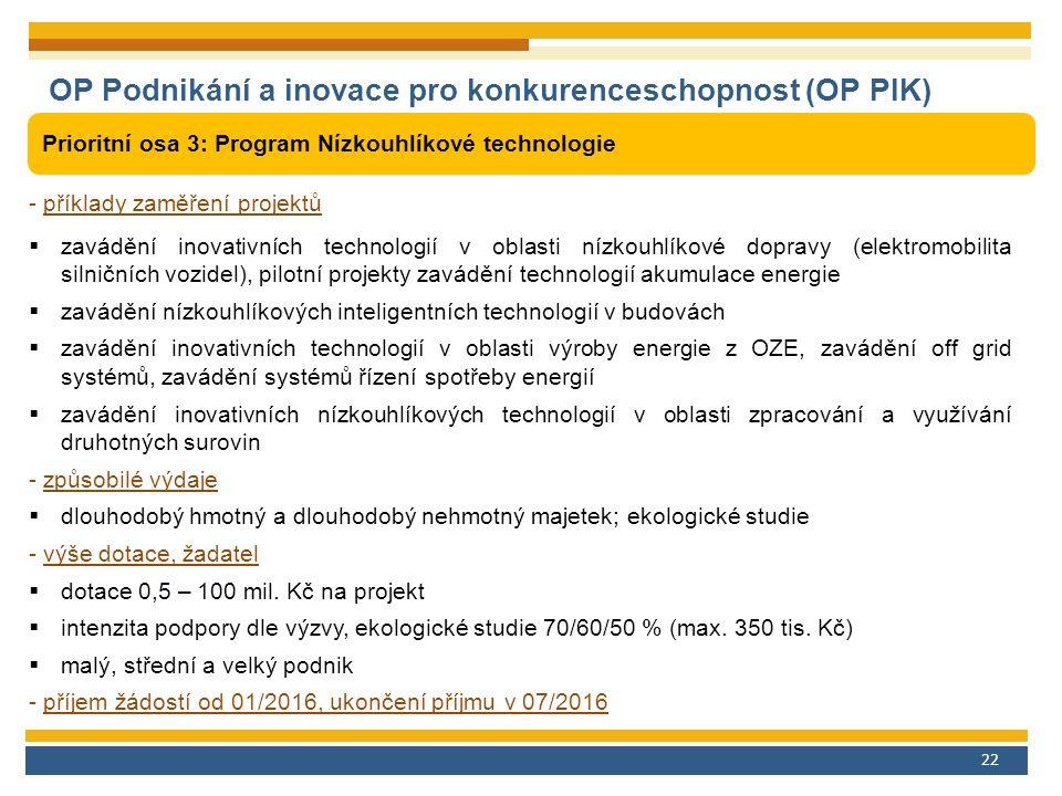 22 OP Podnikání a inovace pro konkurenceschopnost (OP PIK) Prioritní osa 3: Program Nízkouhlíkové technologie - příklady zaměření projektů  zavádění inovativních technologií v oblasti nízkouhlíkové dopravy (elektromobilita silničních vozidel), pilotní projekty zavádění technologií akumulace energie  zavádění nízkouhlíkových inteligentních technologií v budovách  zavádění inovativních technologií v oblasti výroby energie z OZE, zavádění off grid systémů, zavádění systémů řízení spotřeby energií  zavádění inovativních nízkouhlíkových technologií v oblasti zpracování a využívání druhotných surovin - způsobilé výdaje  dlouhodobý hmotný a dlouhodobý nehmotný majetek; ekologické studie - výše dotace, žadatel  dotace 0,5 – 100 mil.