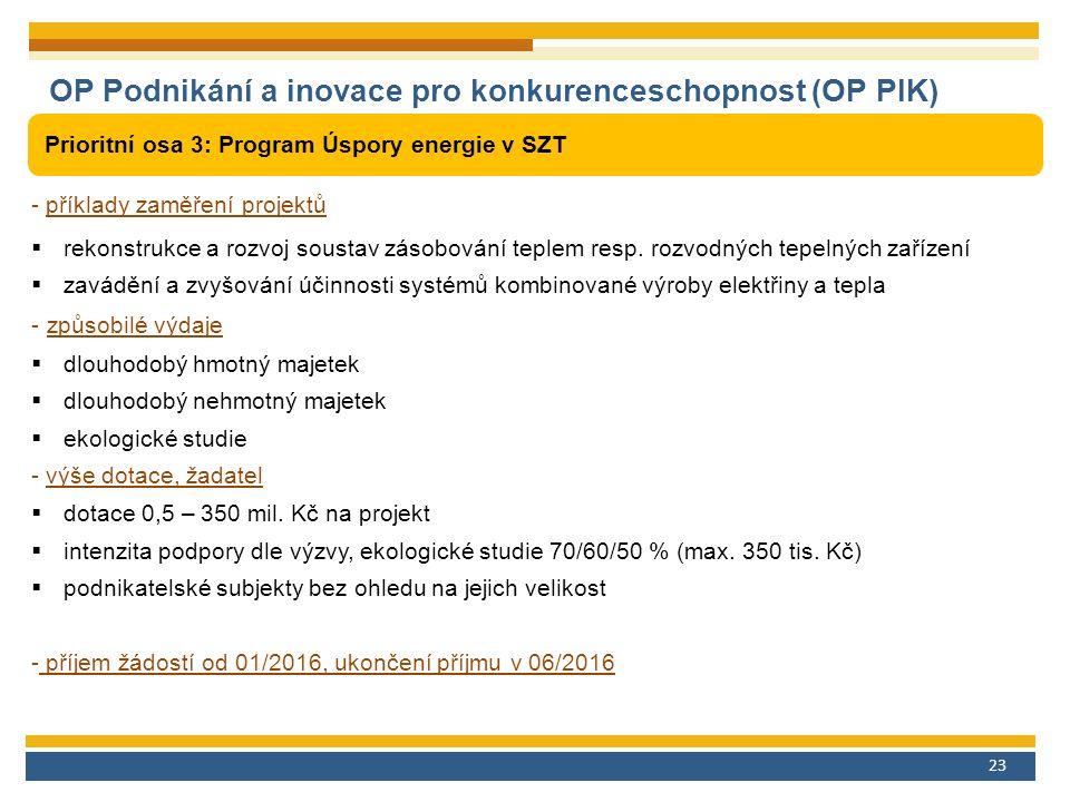 23 OP Podnikání a inovace pro konkurenceschopnost (OP PIK) Prioritní osa 3: Program Úspory energie v SZT - příklady zaměření projektů  rekonstrukce a rozvoj soustav zásobování teplem resp.