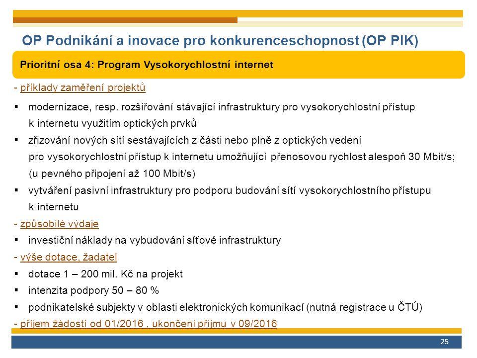 25 OP Podnikání a inovace pro konkurenceschopnost (OP PIK) Prioritní osa 4: Program Vysokorychlostní internet - příklady zaměření projektů  modernizace, resp.