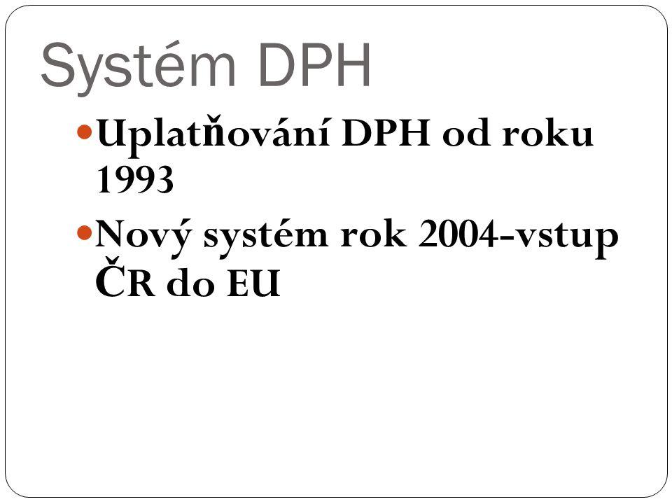 Systém DPH Uplat ň ování DPH od roku 1993 Nový systém rok 2004-vstup Č R do EU