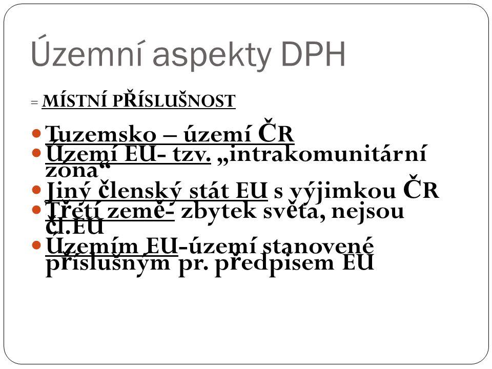 Územní aspekty DPH = MÍSTNÍ P Ř ÍSLUŠNOST Tuzemsko – území Č R Území EU- tzv.
