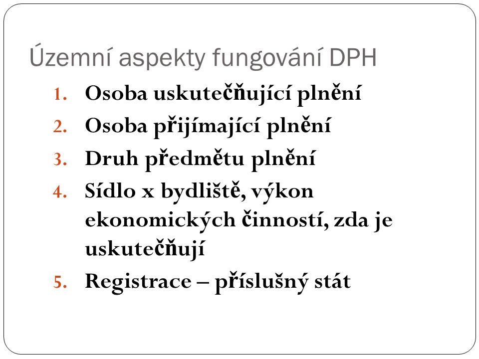 Územní aspekty fungování DPH 1. Osoba uskute čň ující pln ě ní 2.