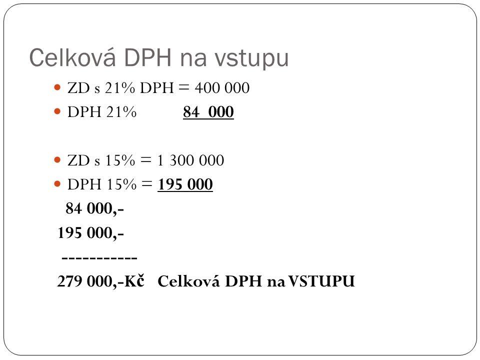 Celková DPH na vstupu ZD s 21% DPH = 400 000 DPH 21% 84 000 ZD s 15% = 1 300 000 DPH 15% = 195 000 84 000,- 195 000,- ----------- 279 000,-K č Celková DPH na VSTUPU