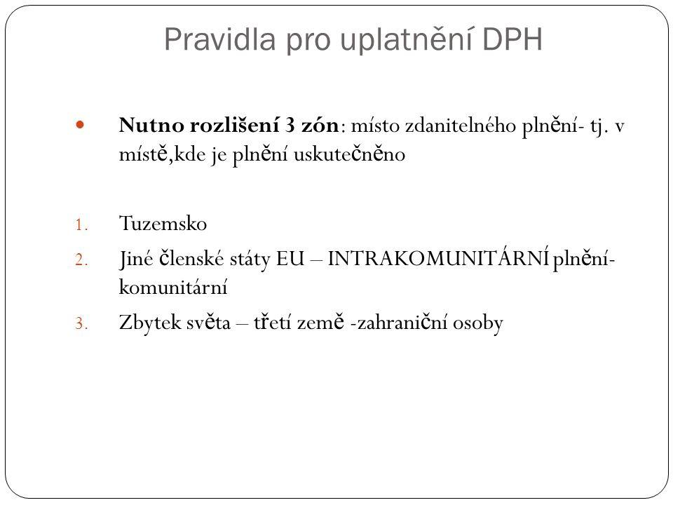 Pravidla pro uplatnění DPH Nutno rozlišení 3 zón: místo zdanitelného pln ě ní- tj.