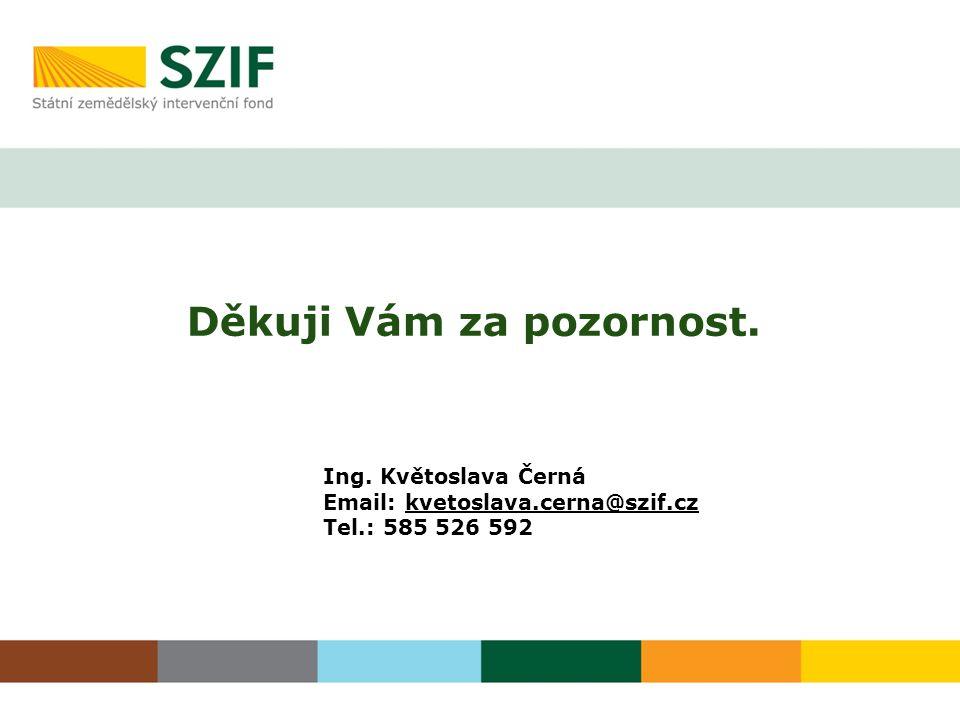 Děkuji Vám za pozornost. Ing. Květoslava Černá Email: kvetoslava.cerna@szif.cz Tel.: 585 526 592
