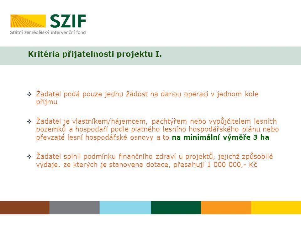 Kritéria přijatelnosti projektu I.