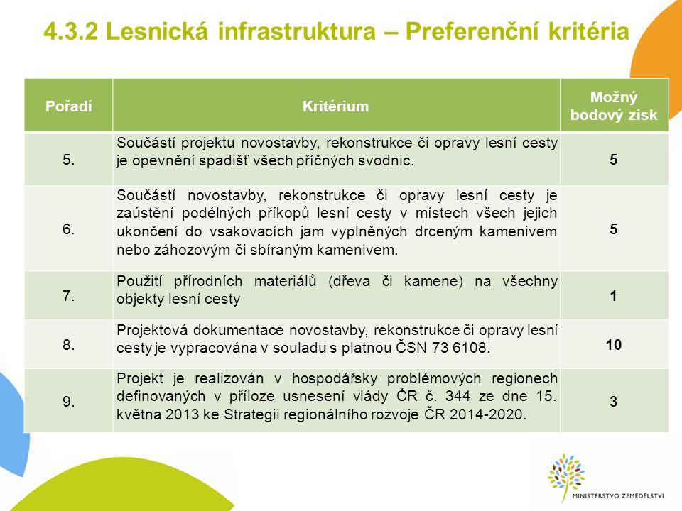 4.3.2 Lesnická infrastruktura – Preferenční kritéria PořadíKritérium Možný bodový zisk 5. Součástí projektu novostavby, rekonstrukce či opravy lesní c