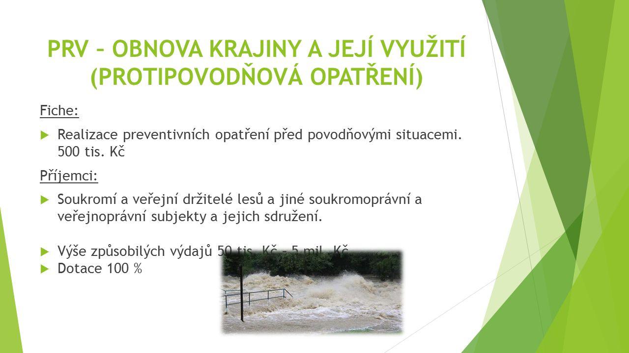 PRV – OBNOVA KRAJINY A JEJÍ VYUŽITÍ (PROTIPOVODŇOVÁ OPATŘENÍ) Fiche:  Realizace preventivních opatření před povodňovými situacemi. 500 tis. Kč Příjem