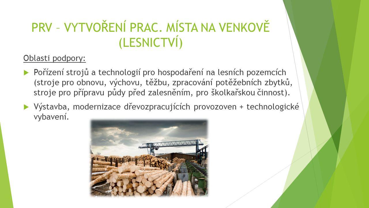 PRV – VYTVOŘENÍ PRAC. MÍSTA NA VENKOVĚ (LESNICTVÍ) Oblasti podpory:  Pořízení strojů a technologií pro hospodaření na lesních pozemcích (stroje pro o