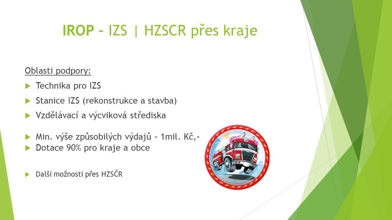 IROP – IZS | HZSCR přes kraje Oblasti podpory:  Technika pro IZS  Stanice IZS (rekonstrukce a stavba)  Vzdělávací a výcviková střediska  Min. výše