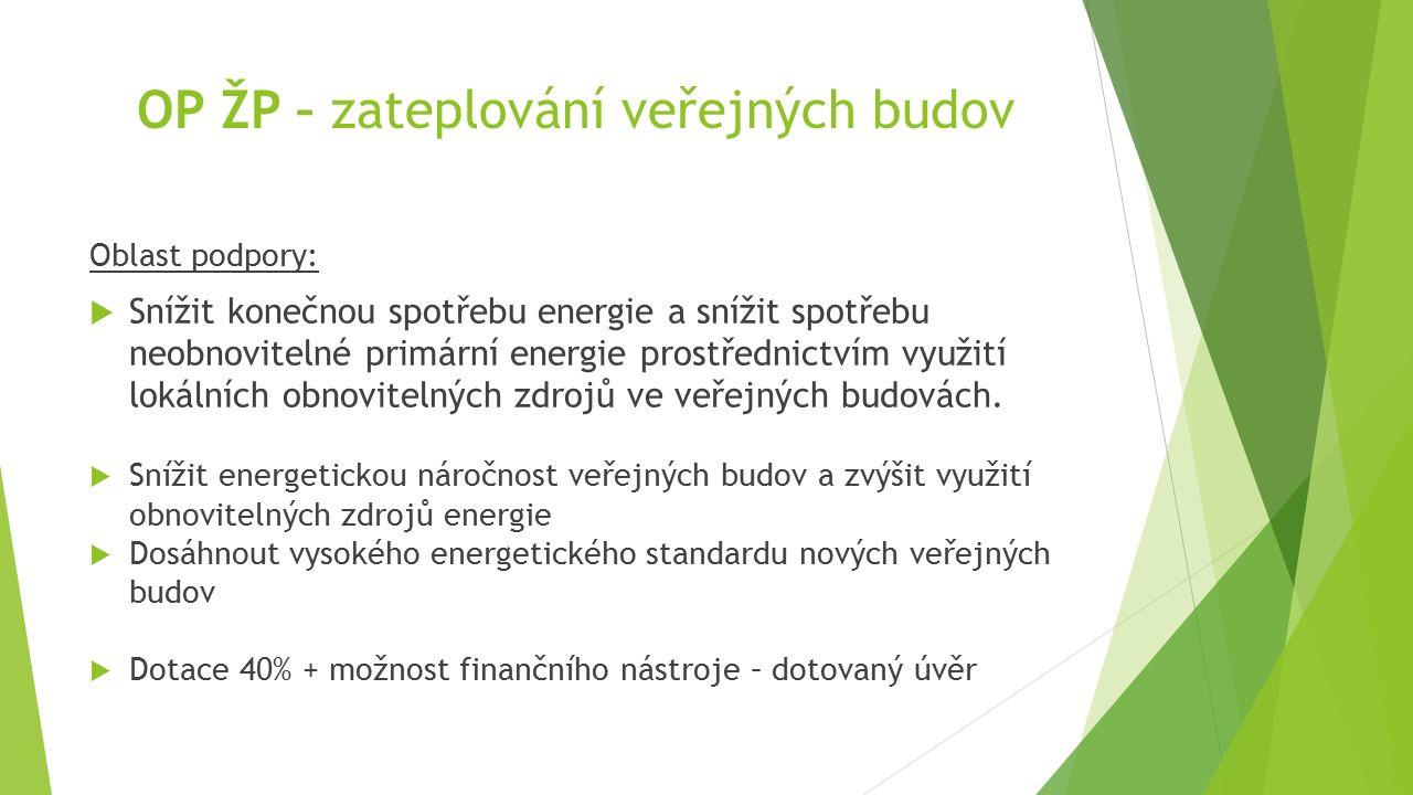 OP ŽP – zateplování veřejných budov Oblast podpory:  Snížit konečnou spotřebu energie a snížit spotřebu neobnovitelné primární energie prostřednictví