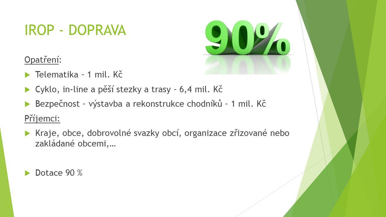 IROP - DOPRAVA Typy projektů:  Zavádění nebo modernizace informačních systémů pro cestující.