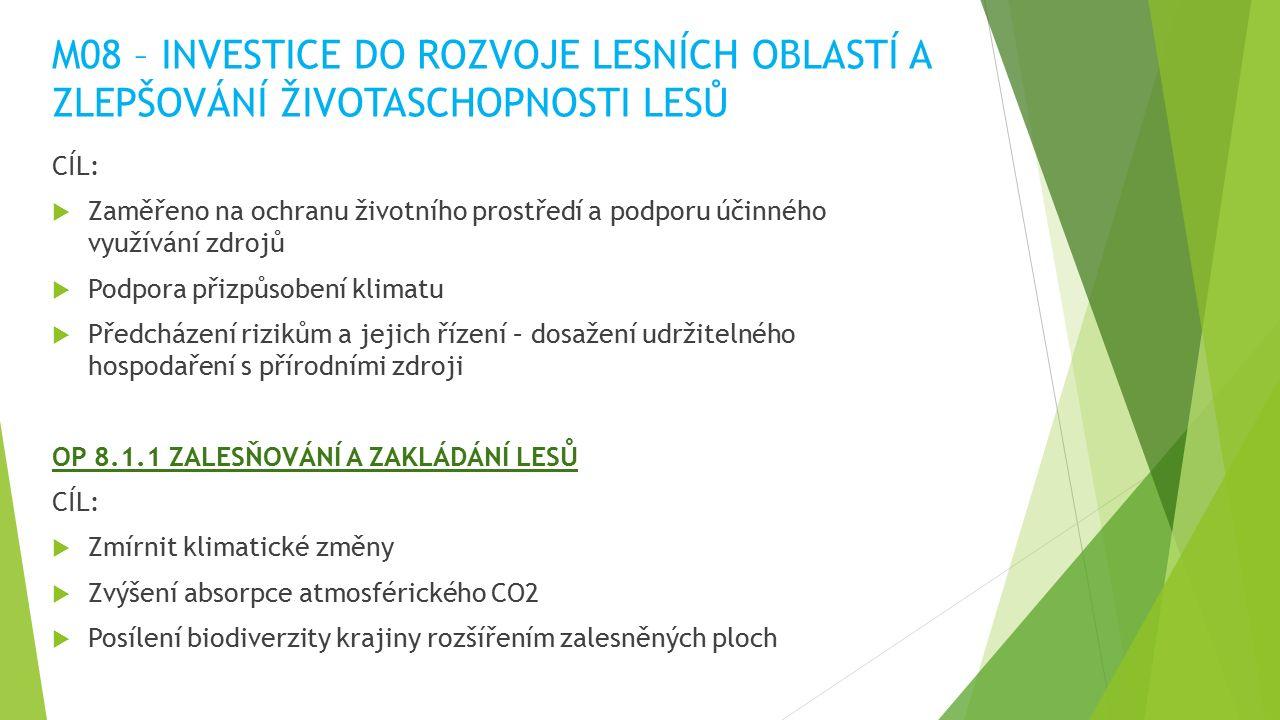 M08 – INVESTICE DO ROZVOJE LESNÍCH OBLASTÍ A ZLEPŠOVÁNÍ ŽIVOTASCHOPNOSTI LESŮ CÍL:  Zaměřeno na ochranu životního prostředí a podporu účinného využívání zdrojů  Podpora přizpůsobení klimatu  Předcházení rizikům a jejich řízení – dosažení udržitelného hospodaření s přírodními zdroji OP 8.1.1 ZALESŇOVÁNÍ A ZAKLÁDÁNÍ LESŮ CÍL:  Zmírnit klimatické změny  Zvýšení absorpce atmosférického CO2  Posílení biodiverzity krajiny rozšířením zalesněných ploch