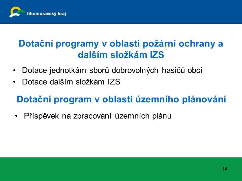 Dotační programy v oblasti požární ochrany a dalším složkám IZS Dotace jednotkám sborů dobrovolných hasičů obcí Dotace dalším složkám IZS 14 Dotační program v oblasti územního plánování Příspěvek na zpracování územních plánů
