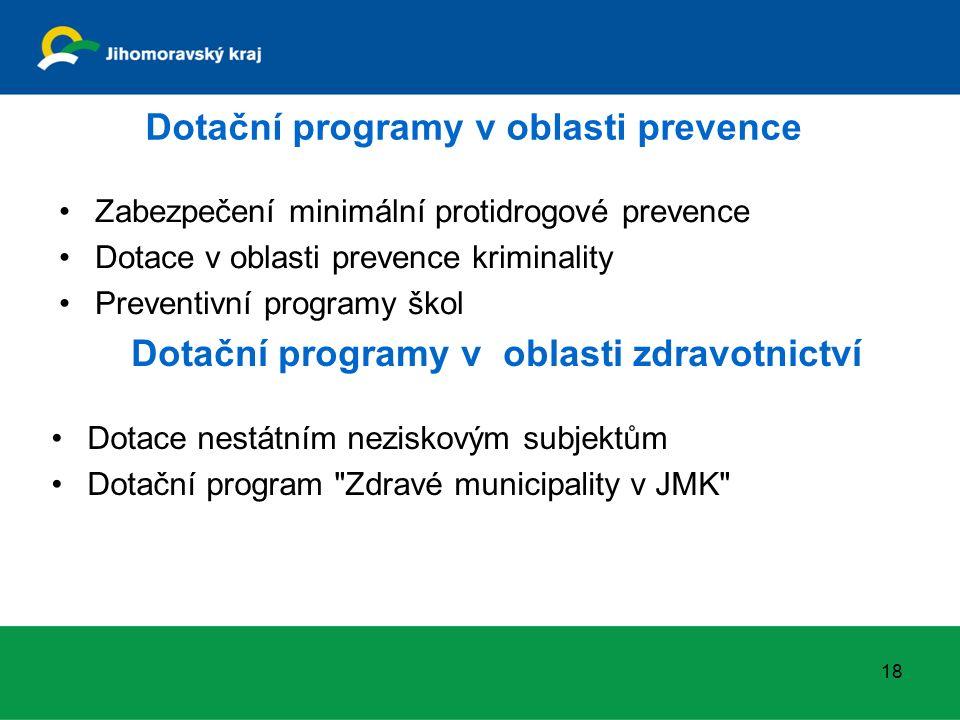 Dotační programy v oblasti prevence Zabezpečení minimální protidrogové prevence Dotace v oblasti prevence kriminality Preventivní programy škol 18 Dotační programy v oblasti zdravotnictví Dotace nestátním neziskovým subjektům Dotační program Zdravé municipality v JMK