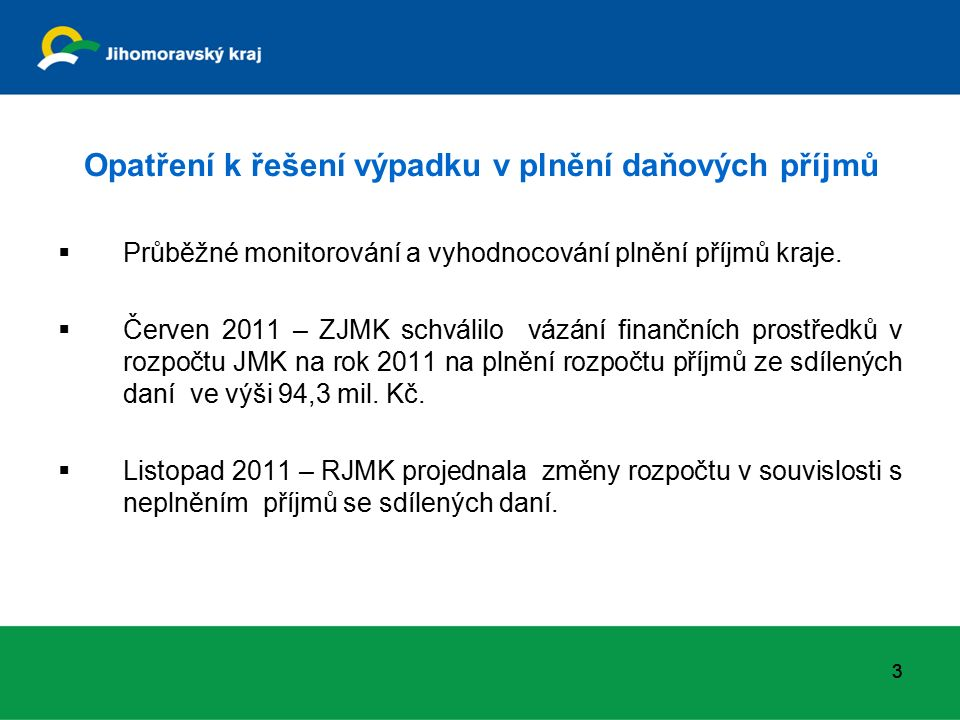 Opatření k řešení výpadku v plnění daňových příjmů  Průběžné monitorování a vyhodnocování plnění příjmů kraje.