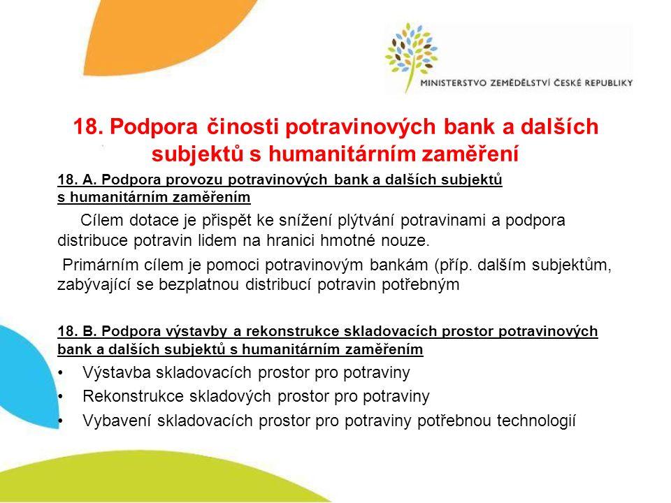 18. Podpora činosti potravinových bank a dalších subjektů s humanitárním zaměření 18.